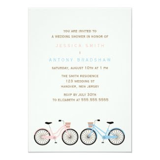 Bicycles His and Hers Bridal Shower Personalized Announcement