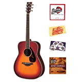 Yamaha FG730S Folk Acoustic Guitar Bundle with Instructional DVD, Strings, Pick Card, and Polishing Cloth - Vintage...