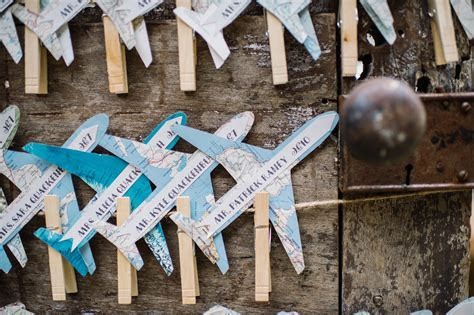Airplane Shaped Escort Cards With Maps