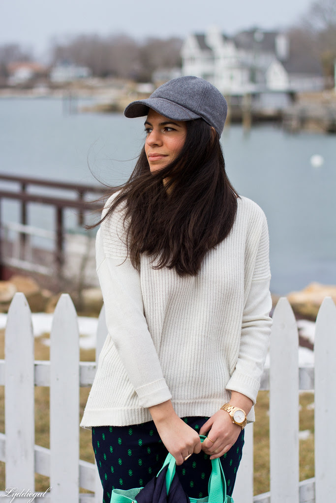 printed pants, white sweater, baseball cap-5.jpg