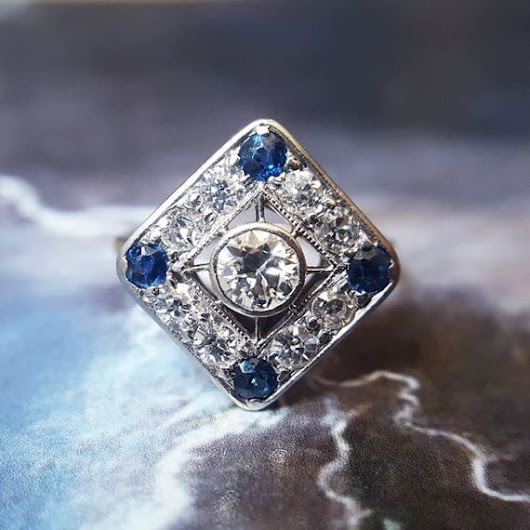 Art Deco Diamond Ring Sapphire Engagement Ring Antique