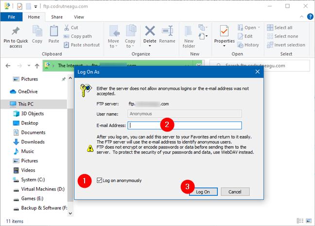 Usar el Explorador de archivos para conectarse a un servidor FTP de forma anónima