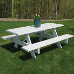 Dura-Trel Traditional White Picnic Table - 6 Foot