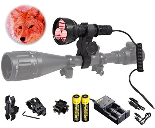 Orion M30C 377 Yards 700 Lumen Red or Green Long Range LED Hog Predator Varmint Hunting Light Flashlight Kit - Scope Barrel Rail Rifle Mounts, Pressure Switch, Rechargeable Batteries and Charger - outdoorsNsports