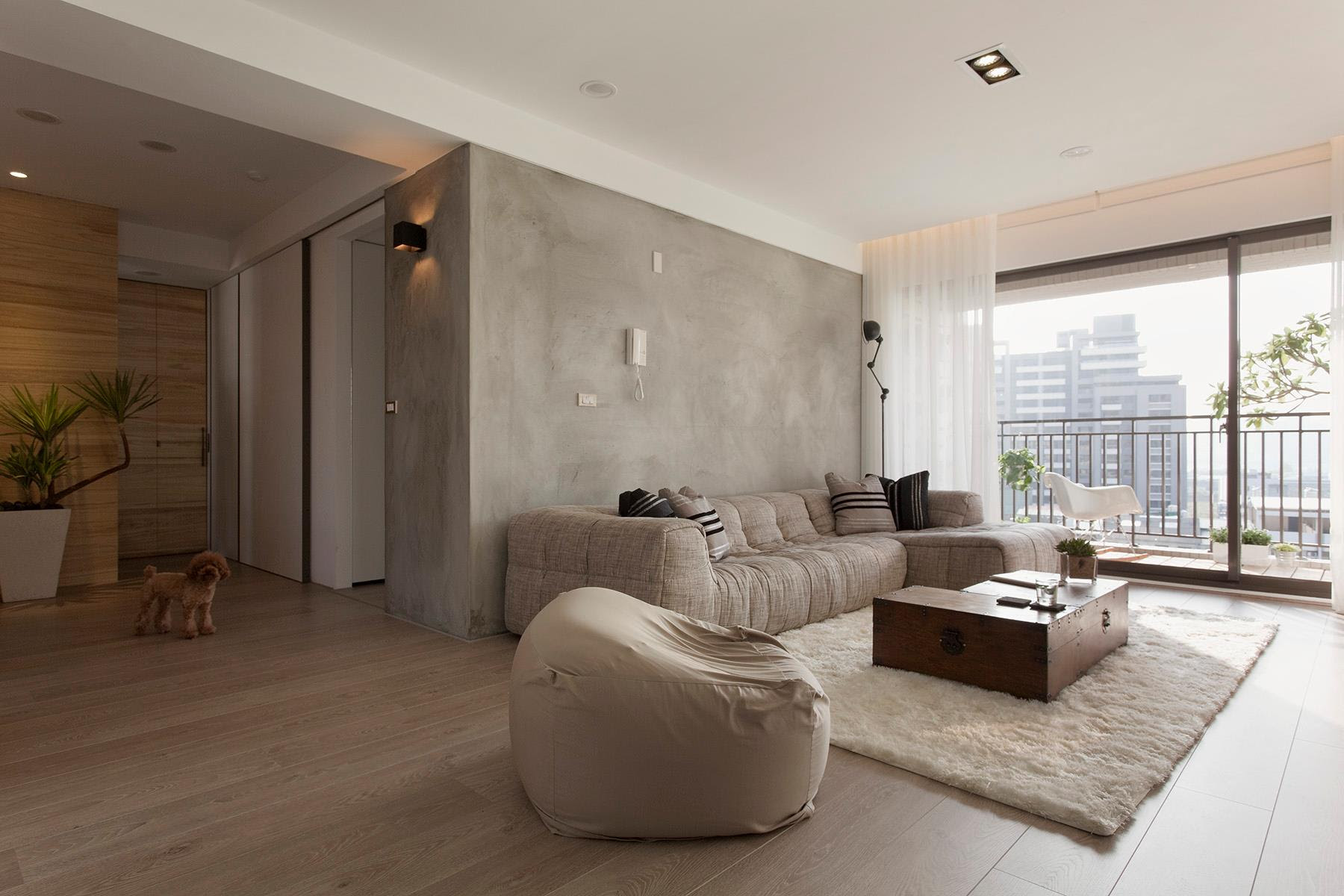 Concrete feature wall living room   Interior Design Ideas.
