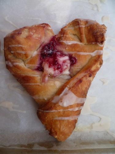heart-shaped raspberry danish