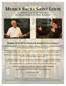 Flyer for conference: Musica Sacra St. Louis