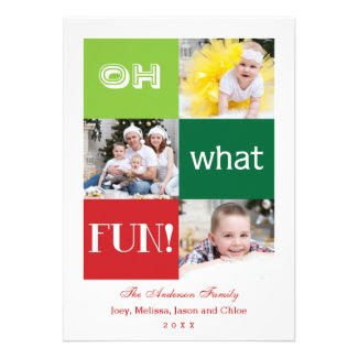 Modern Oh What Fun Holiday Multi Photo Card