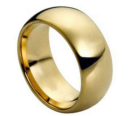 9mm Tungsten Carbide Domed Gold Plated Wedding Band Ring