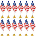 12-Piece Us Flags - American Flags Stand, Usa Flags Desk, Table Decorations, 8 X 5.5 Inches