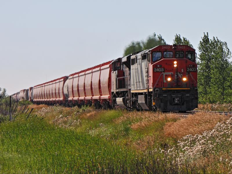 CN 2403 leads train 786 into Winnipeg