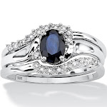 3 Piece 1.05 TCW Oval Sapphire Bridal Ring Set