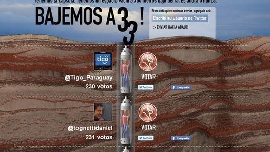 BAJEMOS A 33. Fácil y rápido propone votar por candidatos a encerrar en la mina.