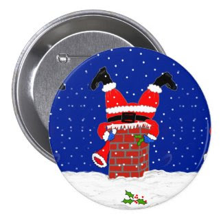 Santa in the Chimney Button