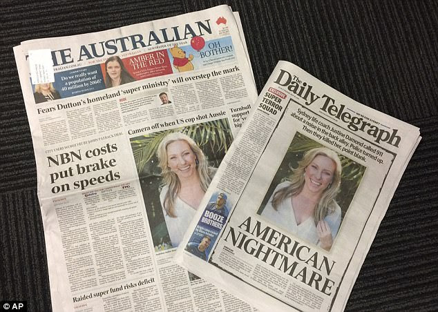 Justine Damond's death has sparked fury, both in the the US and in Australia where it is front page news