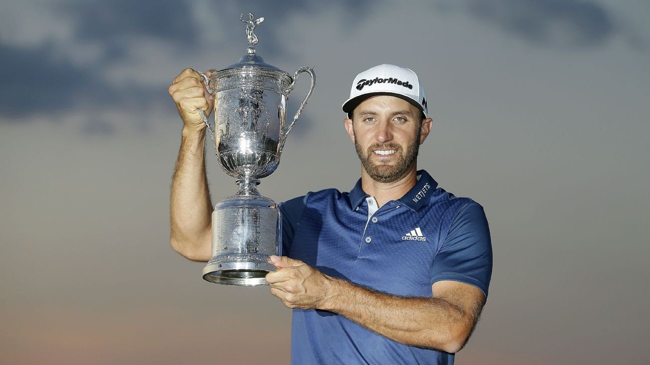 Dustin Johnson with US Open trophy