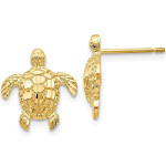 14K Gold Polished & Textured Sea Turtles Post Earrings H1129