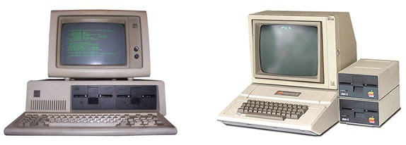 Original IBM PC and Apple // computers