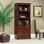 Sauder Bookcase with Doors 3 Shelf Bookshelf Living Room Library Book Storage Furniture