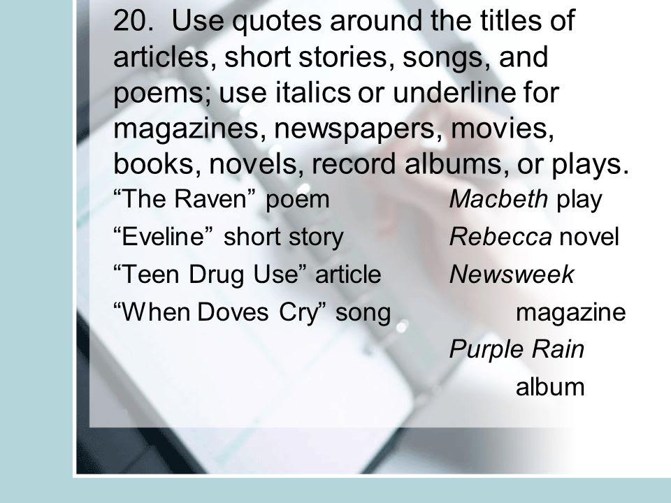 Book Titles Italics Or Quotes. QuotesGram