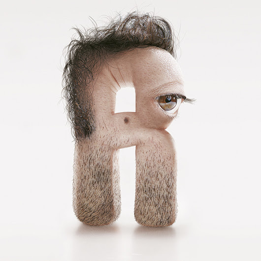 Artist Creates Creepy Typeface With Human Skin, Hair, and Eyes