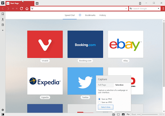 Vivaldi 1.7: Hide Extension icons and Take Screenshots of Web Pages