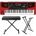 Korg Pa700RD 61-Key Professional Arranger Keyboard (Red) with Knox Gear X-Style Bench and Double X Stand