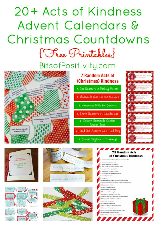 20+ Acts of Kindness Advent Calendars and Christmas Countdowns {Free Printables} - Bits of Positivity