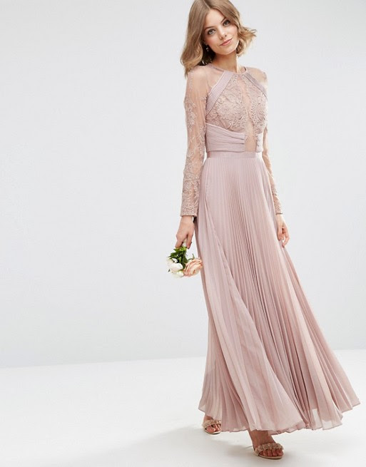 asos  asos wedding pretty lace eyelash pleated maxi dress