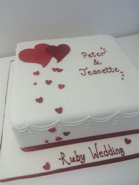 Ruby wedding anniversary cake   Anniversary   Wedding