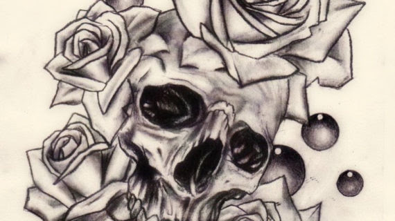 Skull And Roses Drawing At Getdrawingscom Free For Personal Use