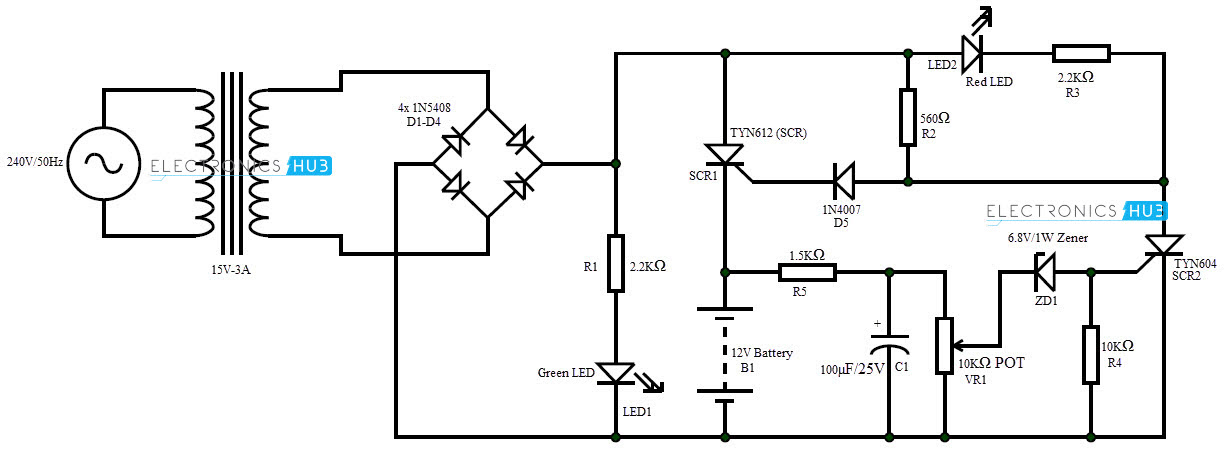 12v 10 Amp Battery Charger Circuit Diagram Circuit