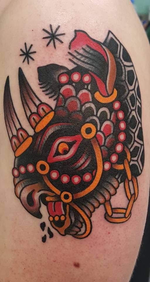War Rhino By Johnathon Montalvo Guest Artist At Classic Tattoo In