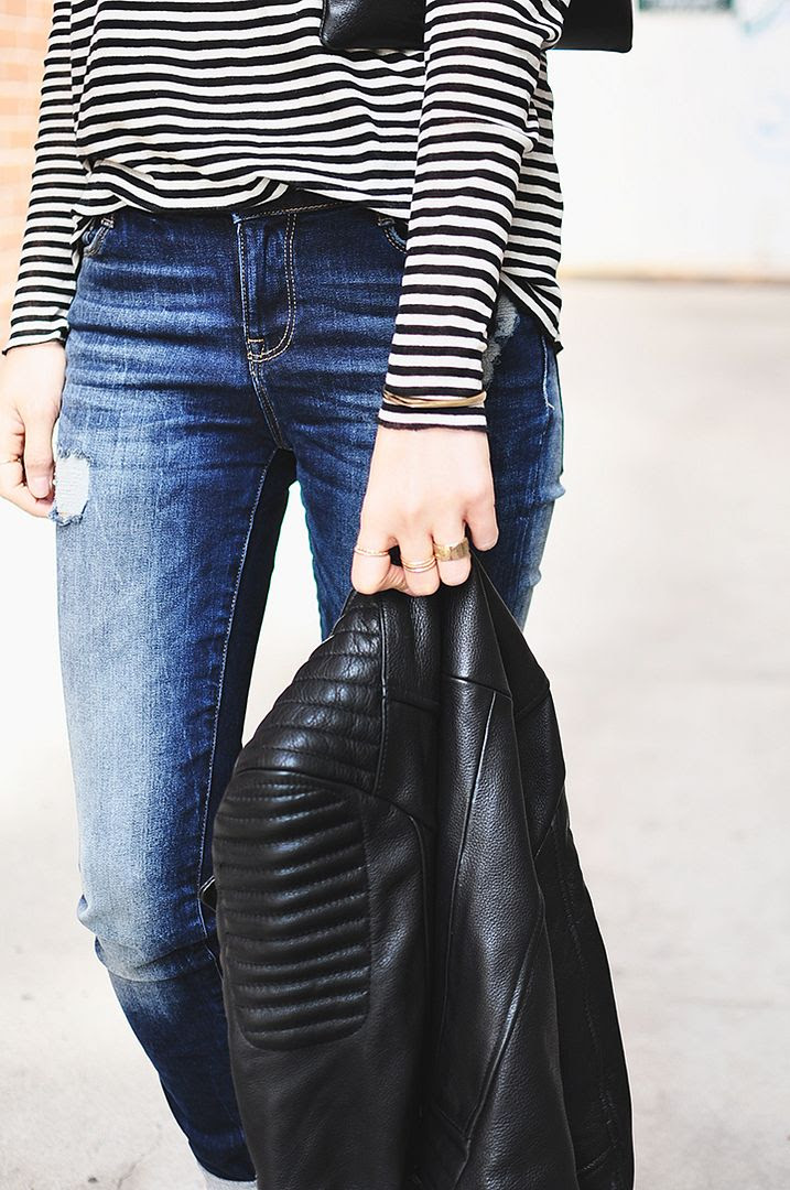 Le Fashion Blog -- Fall Mix: Ribbed Leather Moto Jacket, Striped Tee And Distressed Denim -- Via Her Imanjination -- photo Le-Fashion-Blog-Fall-Mix-Ribbed-Leather-Jacket-Striped-Tee-Distressed-Denim-Via-Her-Imanjination.jpg