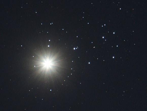 Venus on April 3, 2012, when it last passed over the Seven Sisters cluster. Credit: Bob King