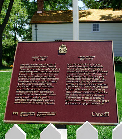 Historical marker for the Laura Secord Homestead.