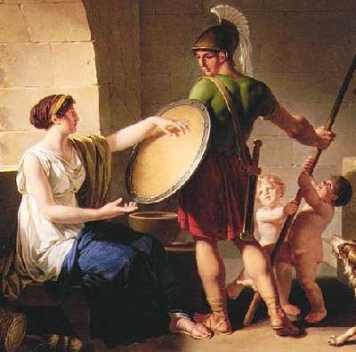 """Jean-Jacques-Francois Le Barbier. Spartan woman giving the shield to her son (""""With it or on it!""""), 1805. Portland Art Museum (Oregon, USA)"""