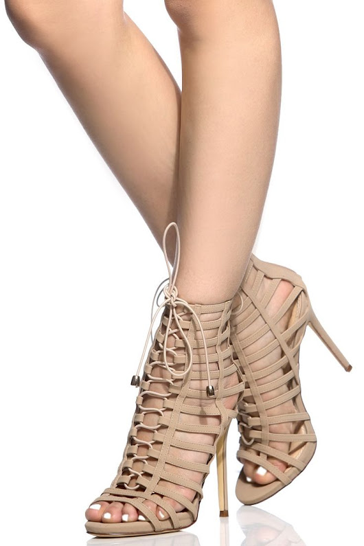 Trendy Women's High Heels : Nude Faux Nubuck Lace Up Multi Strap Heels @ Cicihot Heel Shoes online store sal... - YouFashion.net | Leading Fashion & Lifestyle Magazine