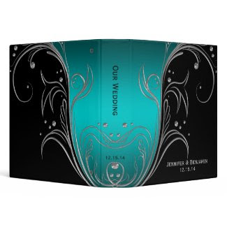 Teal Ombre Black Silver Floral Scrolls Photo Album