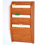 Wooden Mallet CH14-3MO 3 Pocket Letter Size File Holder in Medium Oak