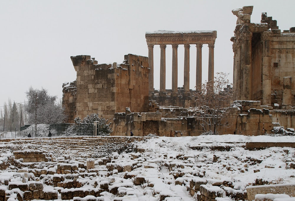 The Roman ruins of Baalbek, in eastern Lebanon's Bekaa Valley, are covered with snow. (AFP/Getty Images)