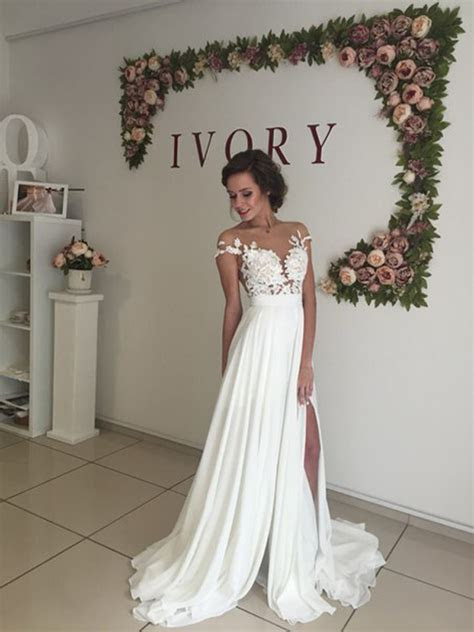 long chiffon wedding dress ,short sleeves wedding dress