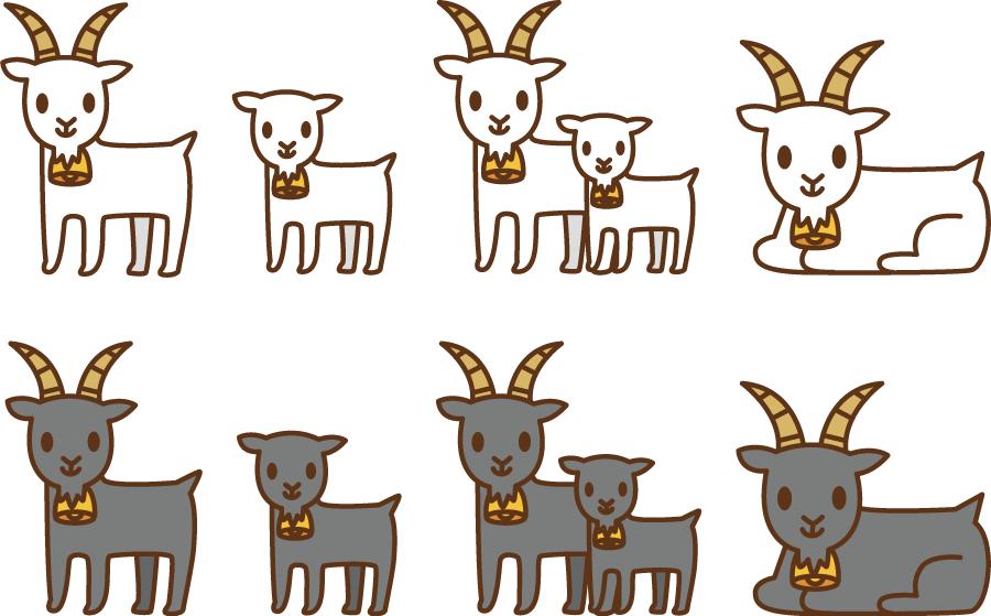 フリーイラスト 8種類のヤギのセットでアハ体験 Gahag 著作権フリー
