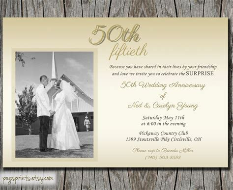 Anniversary Invitations : Golden wedding anniversary