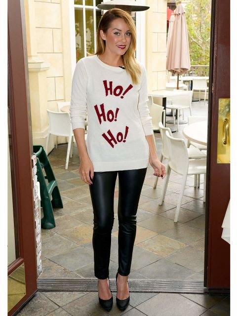 Leave it to LC to turn a Christmas sweater into a steal-worthy holiday #OOTD with leather leggings and pumps!  More: 5 Ways To Make An Ugly Christmas Sweater Look Cute!
