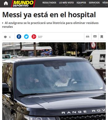 Messi hospital (Foto: Reprodução / Mundo Deportivo)