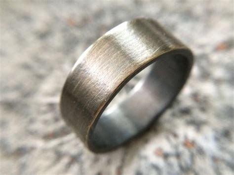 mens rustic mm wedding band thick rugged brass ring