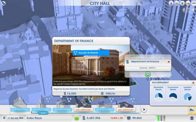 Sim City 5 : Department of Finance