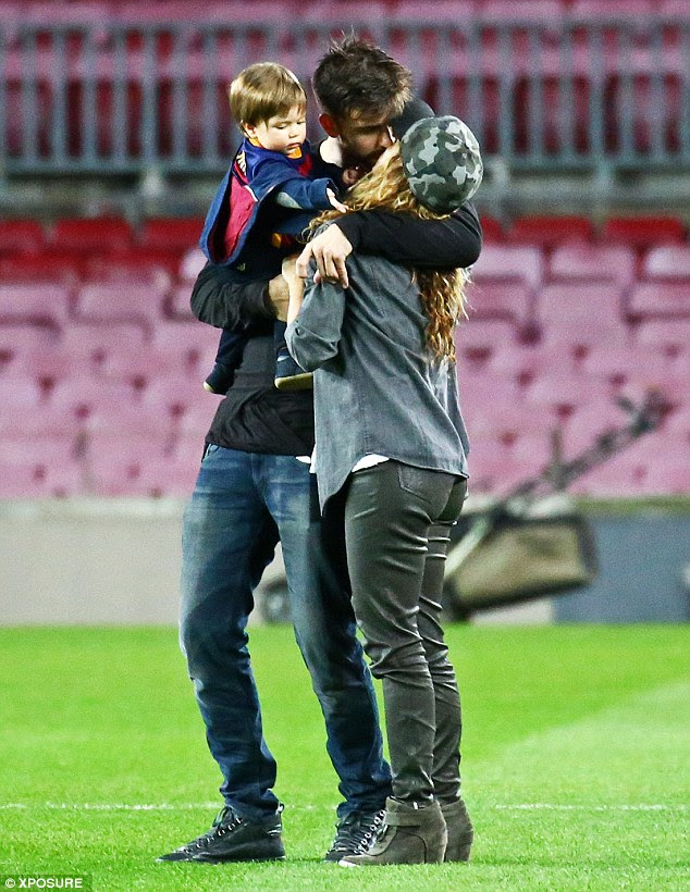 He's a keeper! Shakira put on a passionate display at husband Gerard Piqué's Barcelona vs Granada match, heading onto to the home grounds to congratulate the footballer after his four-nil win