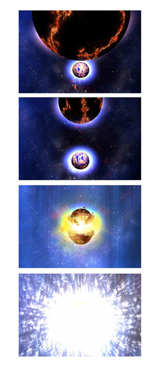 Filmstrip showing the neutron star collision.